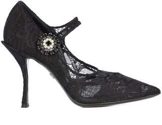 Dolce & Gabbana Mary Jane Lace Jewel Button