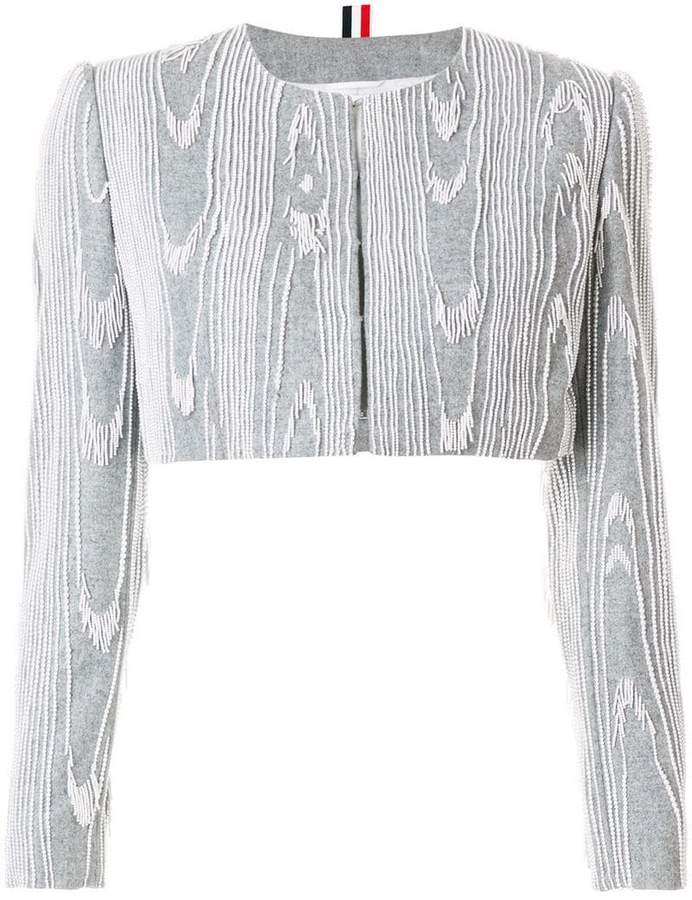 Thom Browne Pearl Fringe Moire Embroidery Cardigan Jacket