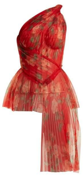 Alexander McQueen Asymmetric Pleated Bustier Top - Womens - Red Multi
