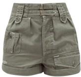 Saint Laurent High-rise Buckled Cotton-blend Shorts - Womens - Khaki