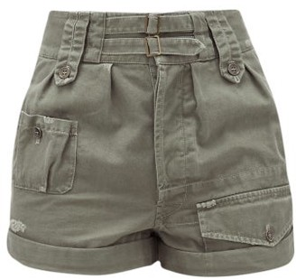 Saint Laurent High-rise Buckled Cotton-blend Shorts - Khaki