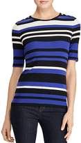 Lauren Ralph Lauren Button Shoulder Stripe Top