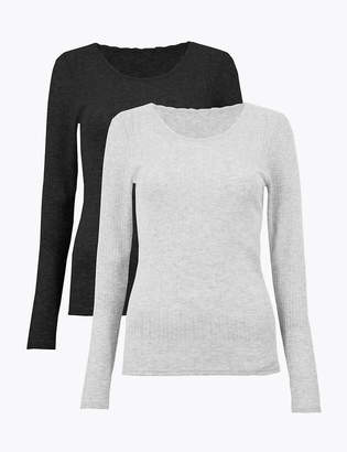 Marks and Spencer 2 Pack Thermal Pointelle Tops