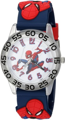 Marvel Boys Spider-Man Analog-Quartz Watch with Plastic Strap Blue 16 (Model: WMA000166)