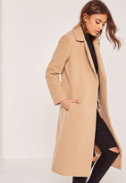Missguided Petite Brown Longline Faux Wool Duster Coat