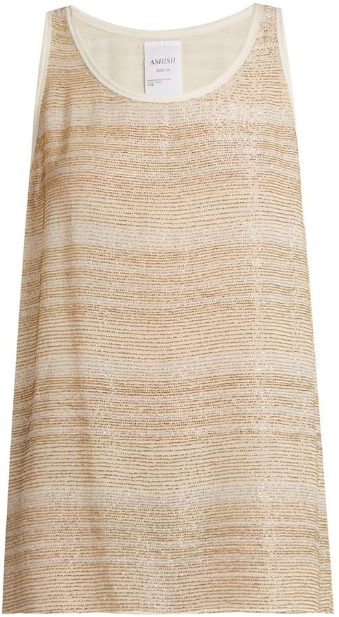 Ashish Bead-embellished silk-georgette sleeveless top