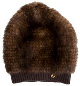 Gucci Knitted Mink Beanie w/ Tags
