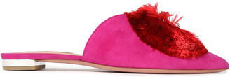 Aquazzura Crystal Lotus Embellished Suede Slippers