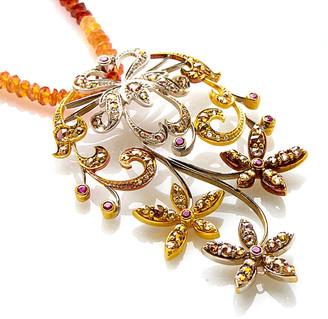 Generic Gemstones 18K Tri-Color 3.11 Ct. Tw. Diamond & Quartz Necklace