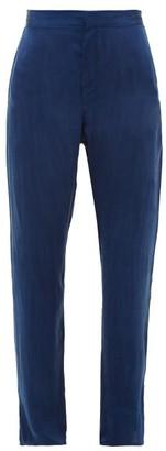 Worme - Straight-leg Silk Trousers - Dark Blue