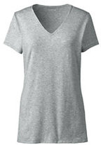 Lands' End Women's Shaped Layering V-neck Tee-Classic Gray Heather