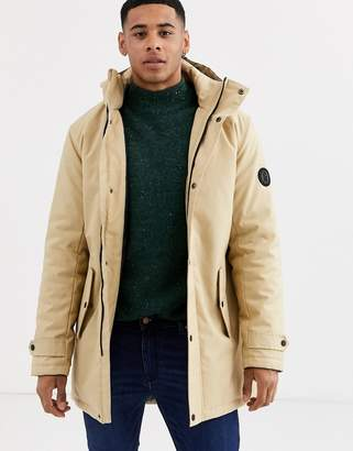ONLY & SONS padded parka with removable hood in sand-Stone