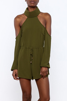 Reverse Olive Open-Shoulder Romper