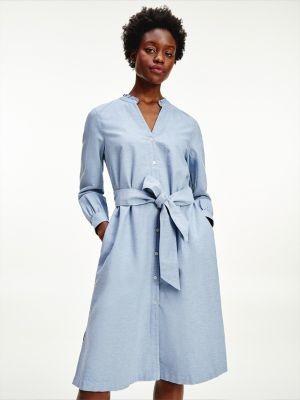 Tommy Hilfiger Ruffle Collar Oxford Shirt Dress