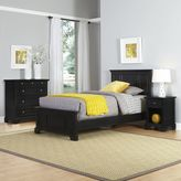 Home Styles Bedford 3-Piece Twin Bed, Nightstand and Chest Drawer Set in Black