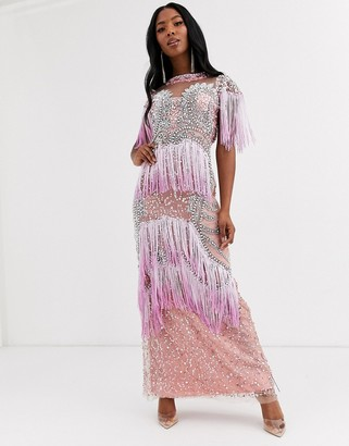 A Star Is Born fringe embellished maxi dress with sheer panels