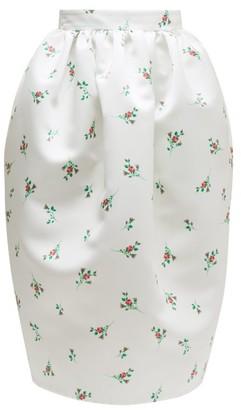 Rochas Floral-print Duchess-satin Skirt - Natural 9501