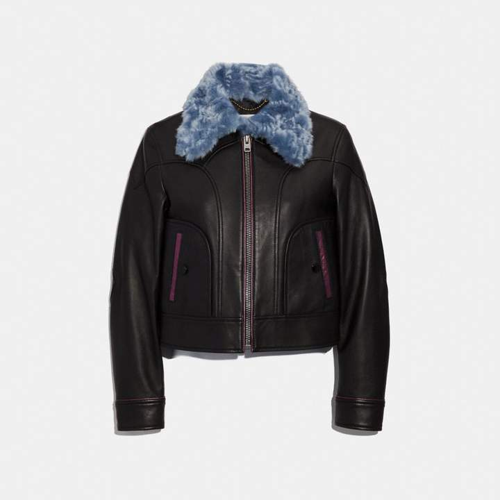 Coach Selena Leather Jacket With Faux Fur