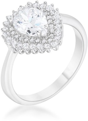 Kate Bissett Susan 1.65ct CZ Rhodium Vintage Inspired Pear Shaped Ring - Clear