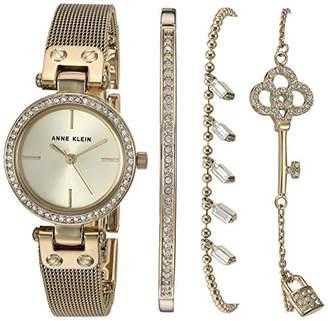 Anne Klein Women's Swarovski Crystal Accented Mesh Watch and Bracelet Set