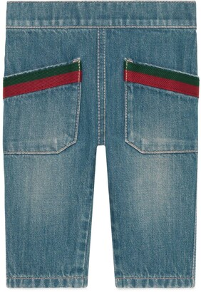 Gucci Baby denim pant with Web