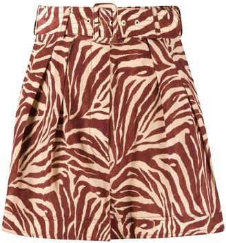 Zimmermann Zebra-Print Silk Shorts