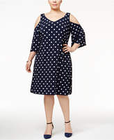 Connected Plus Size Cold-Shoulder Polka-Dot Shift Dress