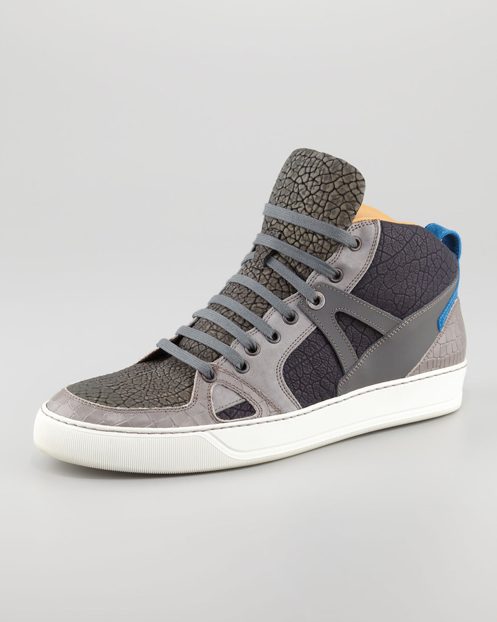 Lanvin Textured Colorblock Hi-Top Sneaker
