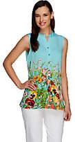 Susan Graver Liquid Knit Floral Print ButtonFrtSleeveless Top