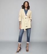 Reiss Ivette - Cotton Wool Blend Cardigan in Cream