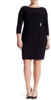 Marina 3/4 Length Sleeve Gathered Waist Dress (Plus Size)