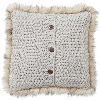 Pottery Barn Button Knit Faux Fur Trim Pillow Covers