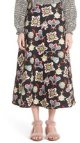 Valentino Women's Pop Floral Print Crepe Midi Skirt