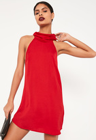 Missguided Red Silky High Neck Swing Dress