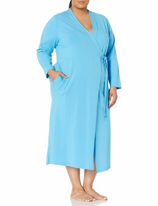 Shadowline Women's Plus Size Before Bed Long Wrap Robe