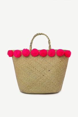 Ardene Pompom Straw Tote Bag