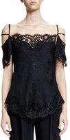 Givenchy Off-The-Shoulder Lace-Trim Blouse, Black