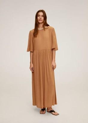 MANGO Pearl neck dress sand - 4 - Women