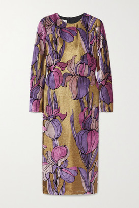 Dries Van Noten Daia Printed Velvet And Lame Midi Dress - Gold