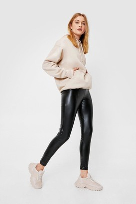 Nasty Gal Womens High Waisted Faux Leather Side Zip Leggings - Black