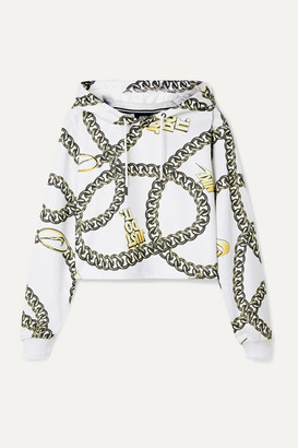 Nike Glam Dunk Cropped Printed Tech-jersey Hoodie - White