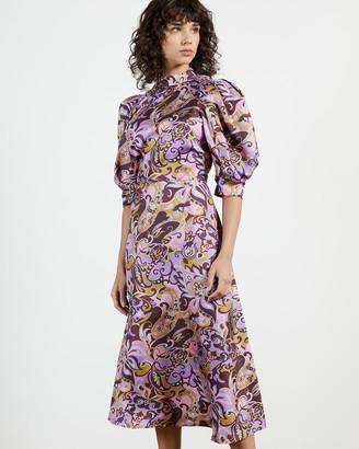 Ted Baker HARIAT Printed short sleeve silk dress