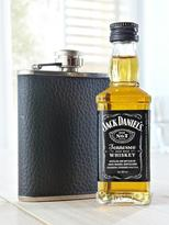 Jack Daniels Miniature Whiskey And Hip Flask Gift Set