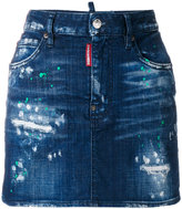 DSQUARED2 paint splattered denim skirt
