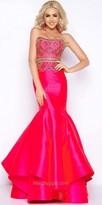 Mac Duggal Beaded Strapless Satin Pleated Mermaid Dress