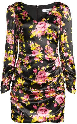 LIKELY Gabriella Long Puff-Sleeve Satin Floral Dress