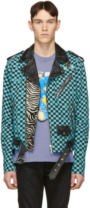 Amiri Blue and Black Artist Checkered Biker Jacket
