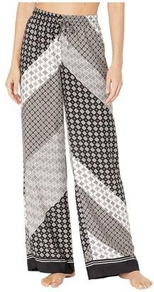 Calvin Klein Printed Wide Leg Pants (Black/Blush Multi) Women's Casual Pants