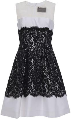 Carolina Herrera Organza-paneled Satin-twill And Leaver Lace Mini Dress