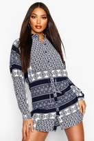 boohoo Print Tie Waist Shirt Dress